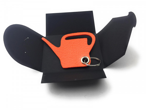 Filz-Schlüsselanhänger - Giess-Kanne - orange - Gravur optional