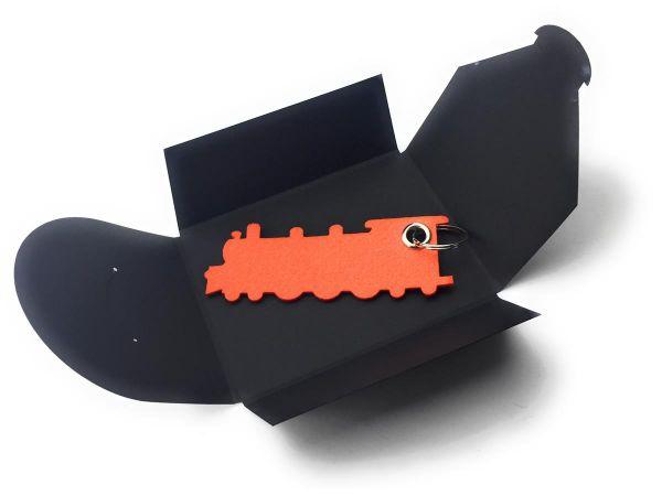 Filz-Schlüsselanhänger - Grosse Dampflok - orange - Gravur optional