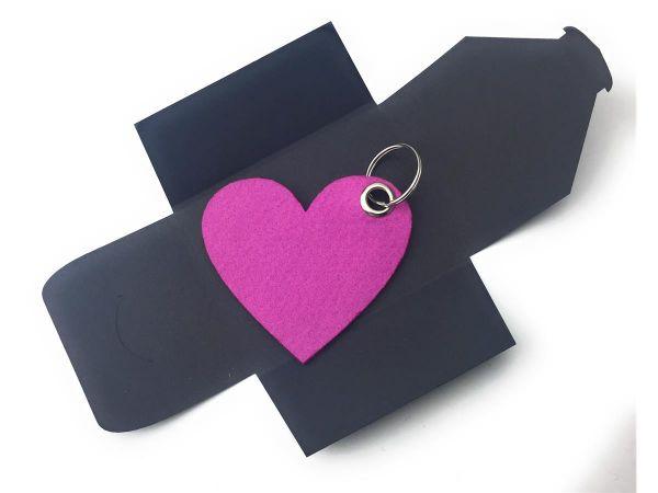 Filz-Schlüsselanhänger - Herz - pink - Gravur optional
