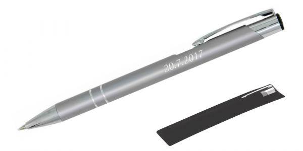 Kugelschreiber LIBO in silber inkl. individueller Gravur - in Samthülle