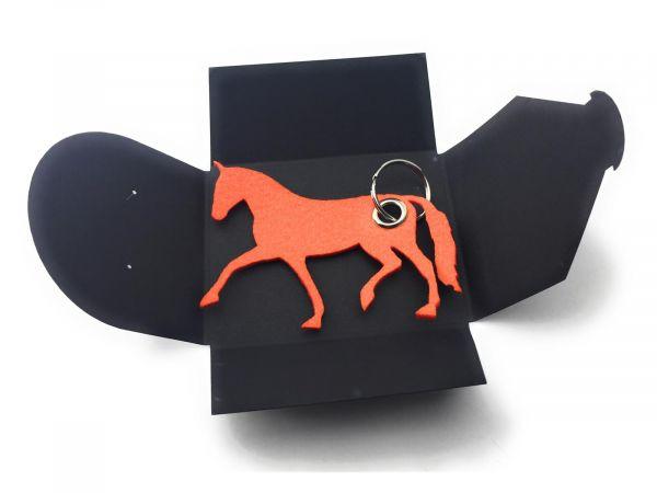 Filz-Schlüsselanhänger - Pferd - orange - Gravur optional