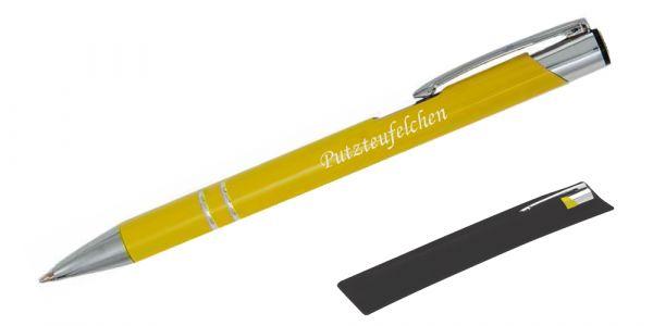 Kugelschreiber LIBO in gelb inkl. individueller Gravur - in Samthülle