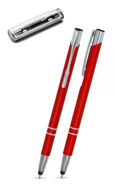 Kugelschreiber LIBO slim touch in rot inkl. individueller Gravur - mit Geschenkverpackung