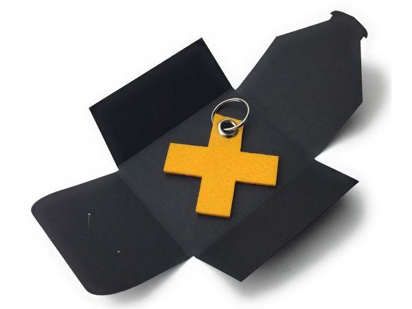 Filz-Schlüsselanhänger - X - safrangelb/gelb - Gravur optional
