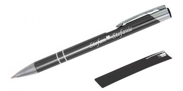Kugelschreiber LIBO in anthrazit inkl. individueller Gravur - in Samthülle