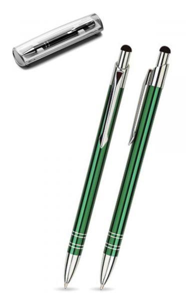 Kugelschreiber LOLA touch in dunkelgrün inkl. individueller Gravur - mit Geschenkverpackung