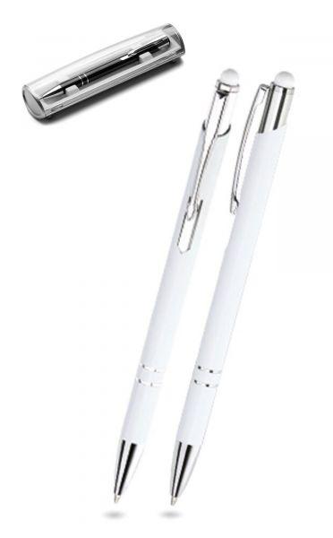 Kugelschreiber LEONI in weiß inkl. individueller Gravur - mit Geschenkverpackung