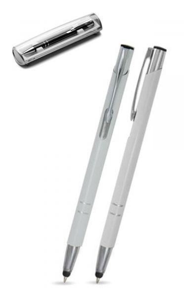 Kugelschreiber LIBO slim touch in weiß inkl. individueller Gravur - mit Geschenkverpackung