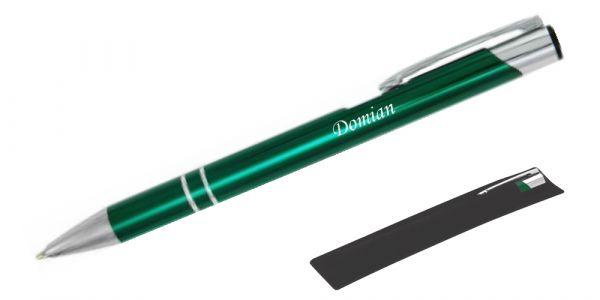 Kugelschreiber LIBO in dunkelgrün inkl. individueller Gravur - in Samthülle