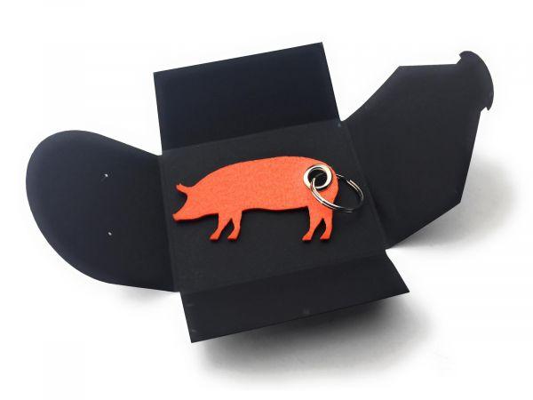 Filz-Schlüsselanhänger - Haus-Schwein - orange - Gravur optional