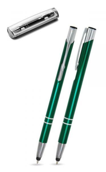 Kugelschreiber LIBO slim touch in dunkelgrün inkl. individueller Gravur - mit Geschenkverpackung