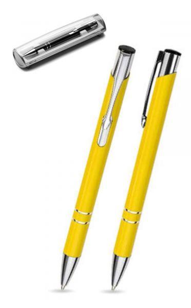 Kugelschreiber LIBO in gelb inkl. individueller Gravur - mit Geschenkverpackung