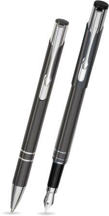 2er Set LIBO - Kugelschreiber & Füllfederhalter - Farbe: schwarz - Schreibset im silbernen Etui - in
