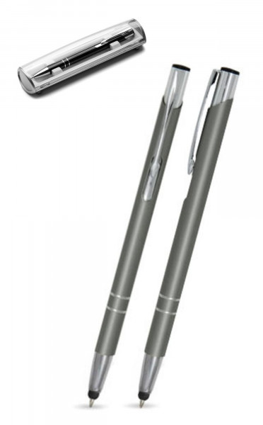Kugelschreiber LIBO slim touch in grau inkl. individueller Gravur - mit Geschenkverpackung
