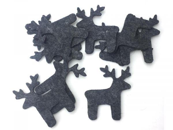Figuren Set - Elch - Filz, Farbe: schwarz meliert - Textilfilz, Streudeko