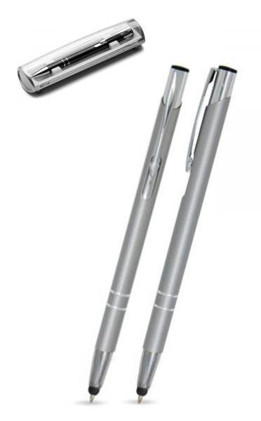 Kugelschreiber LIBO slim touch in silber inkl. individueller Gravur - mit Geschenkverpackung