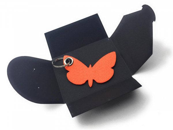 Filz-Schlüsselanhänger - Schmetterling - orange - Gravur optional