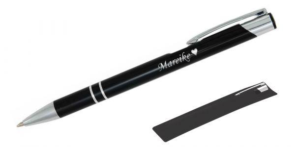 Kugelschreiber LIBO in schwarz inkl. individueller Gravur - in Samthülle