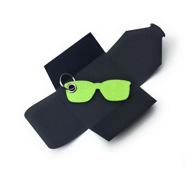Filz-Schlüsselanhänger - Sonnen-Brille - lindgrün/grün - Gravur optional