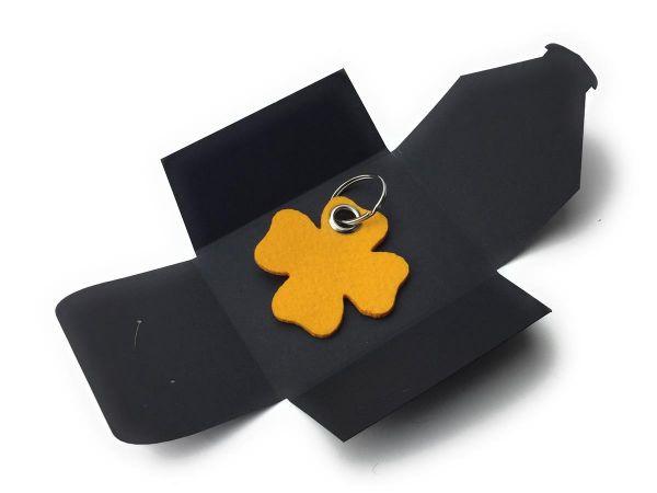 Filz-Schlüsselanhänger - Glück - safrangelb/gelb - Gravur optional