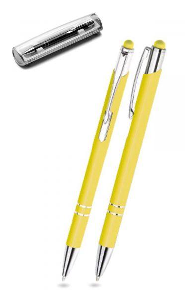 Kugelschreiber LEONI in gelb inkl. individueller Gravur - mit Geschenkverpackung