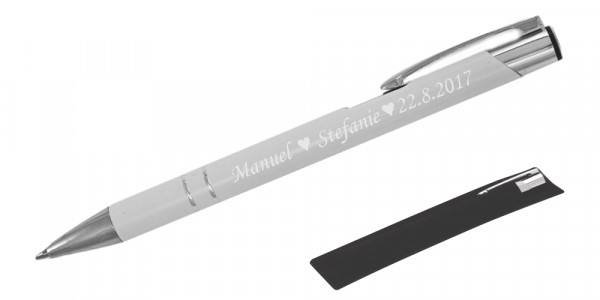 Kugelschreiber LIBO in weiß inkl. individueller Gravur - in Samthülle