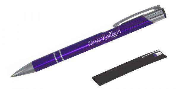 Kugelschreiber LIBO in violett inkl. individueller Gravur - in Samthülle