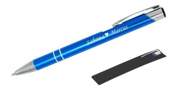 Kugelschreiber LIBO in himmelblau inkl. individueller Gravur - in Samthülle