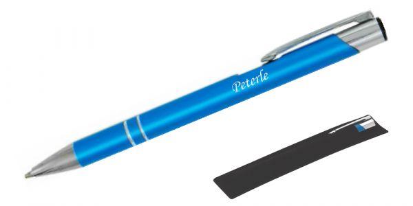 Kugelschreiber LIBO in türkis inkl. individueller Gravur - in Samthülle