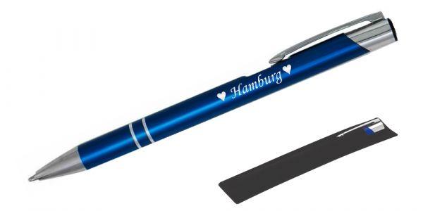 Kugelschreiber LIBO in dunkelblau inkl. individueller Gravur - in Samthülle