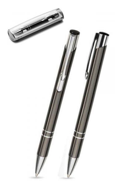 Kugelschreiber LIBO in anthrazit inkl. individueller Gravur - mit Geschenkverpackung