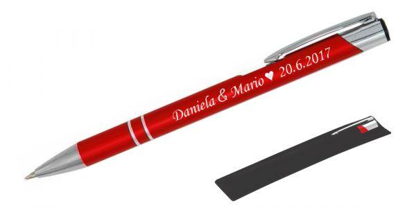 Kugelschreiber LIBO in rot inkl. individueller Gravur - in Samthülle