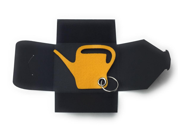 Filz-Schlüsselanhänger - Giess-Kanne - safrangelb/gelb - Gravur optional